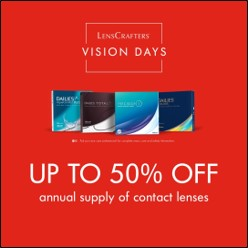Get up to 50% off an annual supply of contact lenses, for a limited time only!