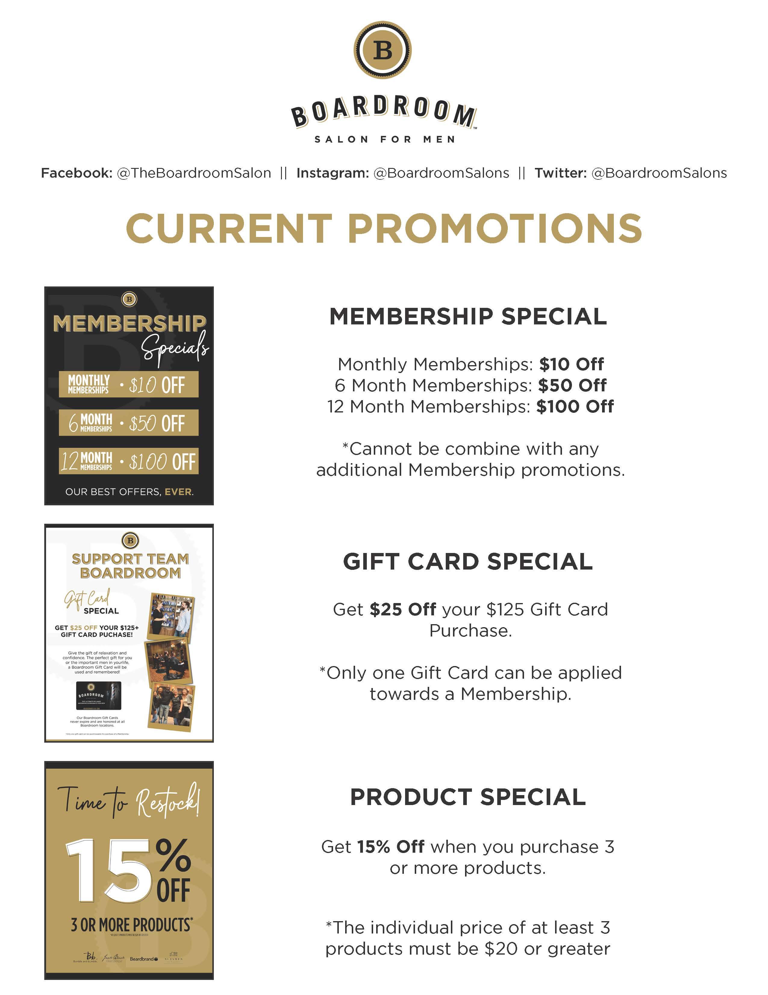 Membership Specials from Boardroom Salon for Men