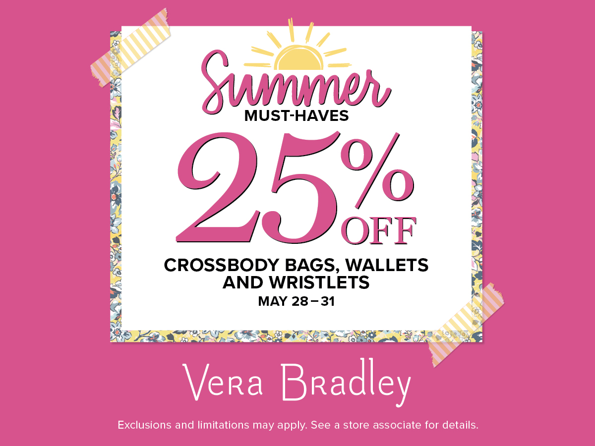 Shop 25% off Crossbody Bags, Wallets and Wristlets made to move you through your day from Vera Bradley