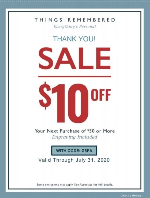 Thank You Sale from Things Remembered