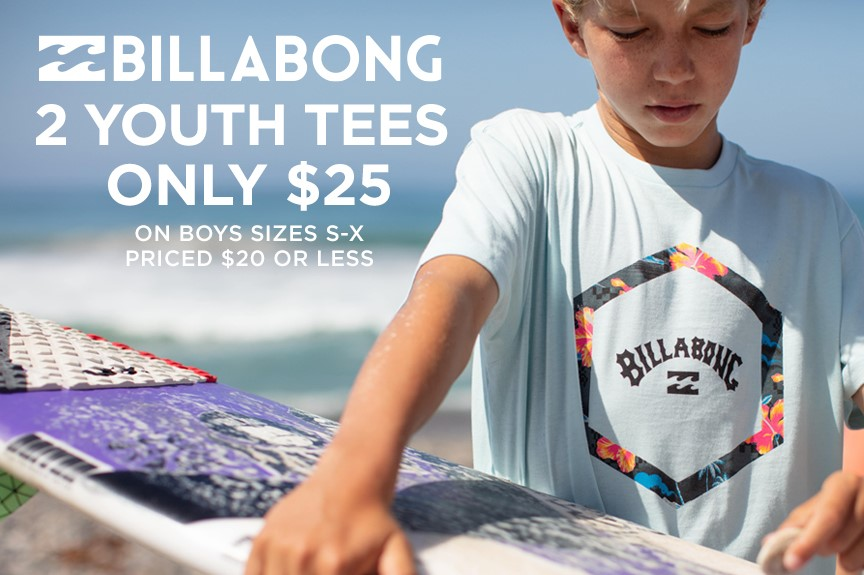 Billabong Youth Tees - 2 for $25 & Billabong Kid's Tees: 2 for $23 from Hawaiian Island Creations