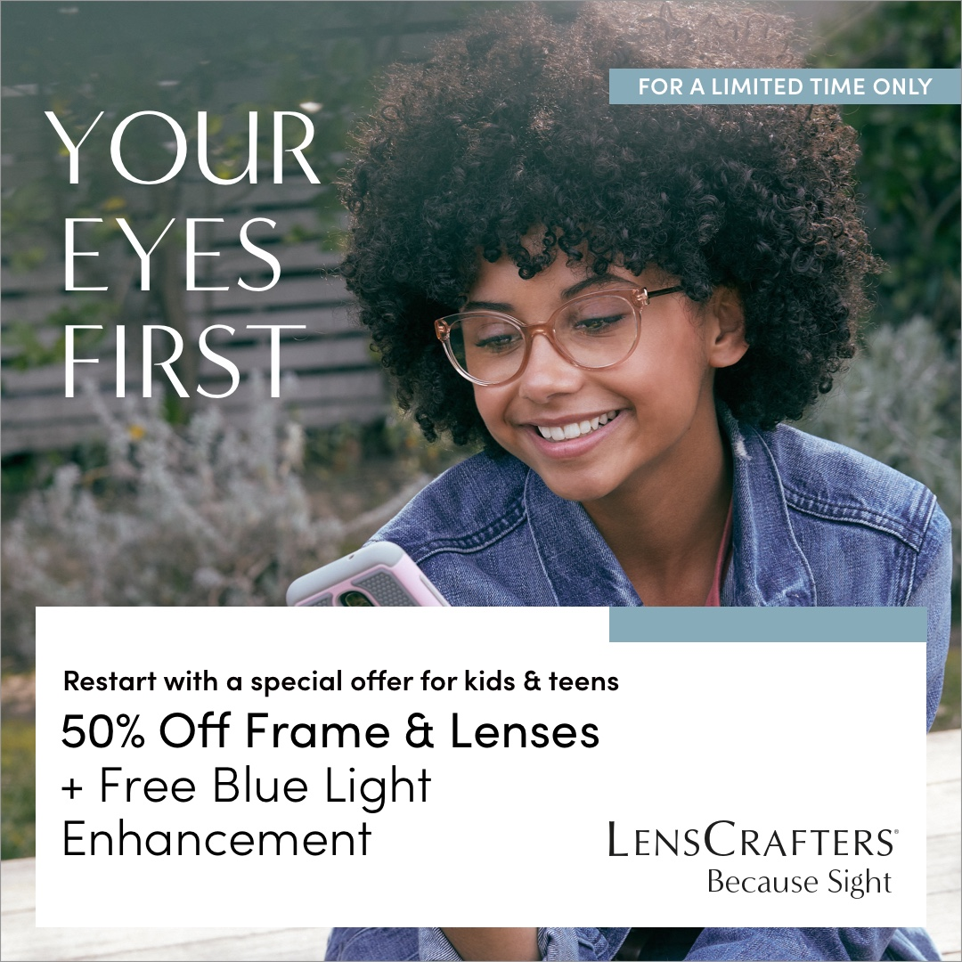 Kids & Teens 50% Off Frame & Lenses
