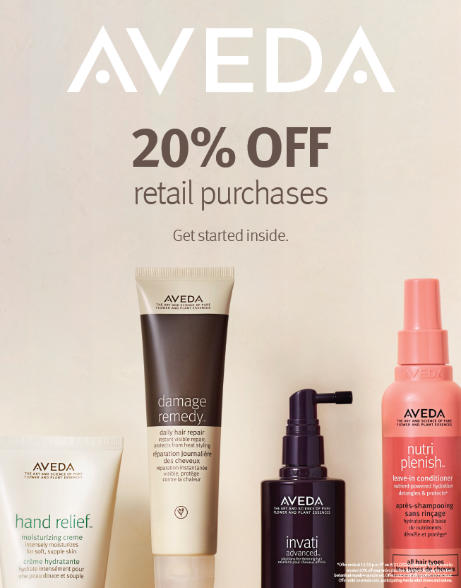 20% of Retail Products from Karen Allen Aveda Salon