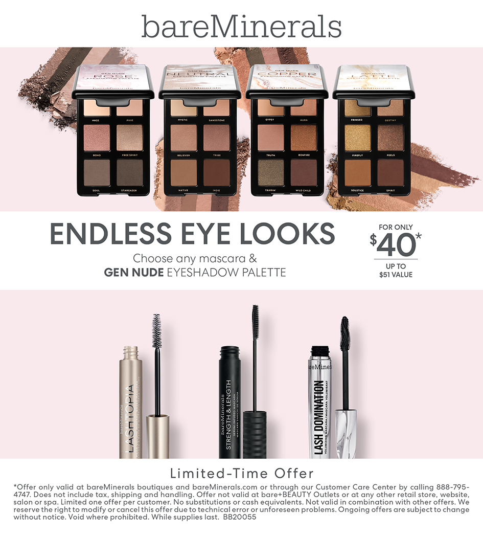 Any Mascara and Gen Nude Eye Palette for $40.00