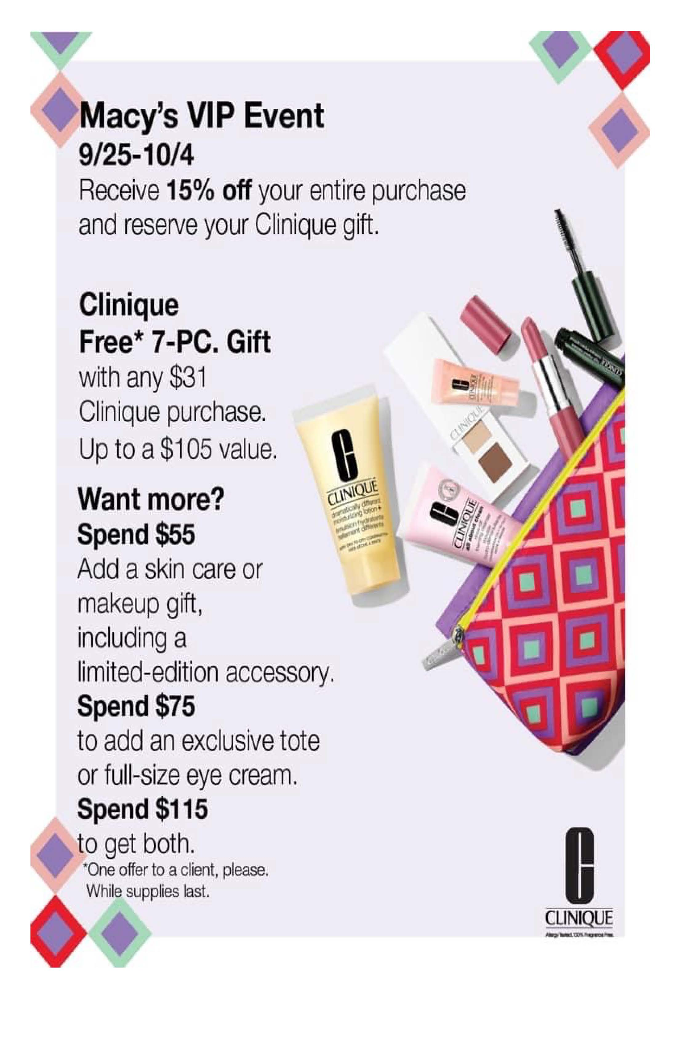 Clinique 15% off from macy's