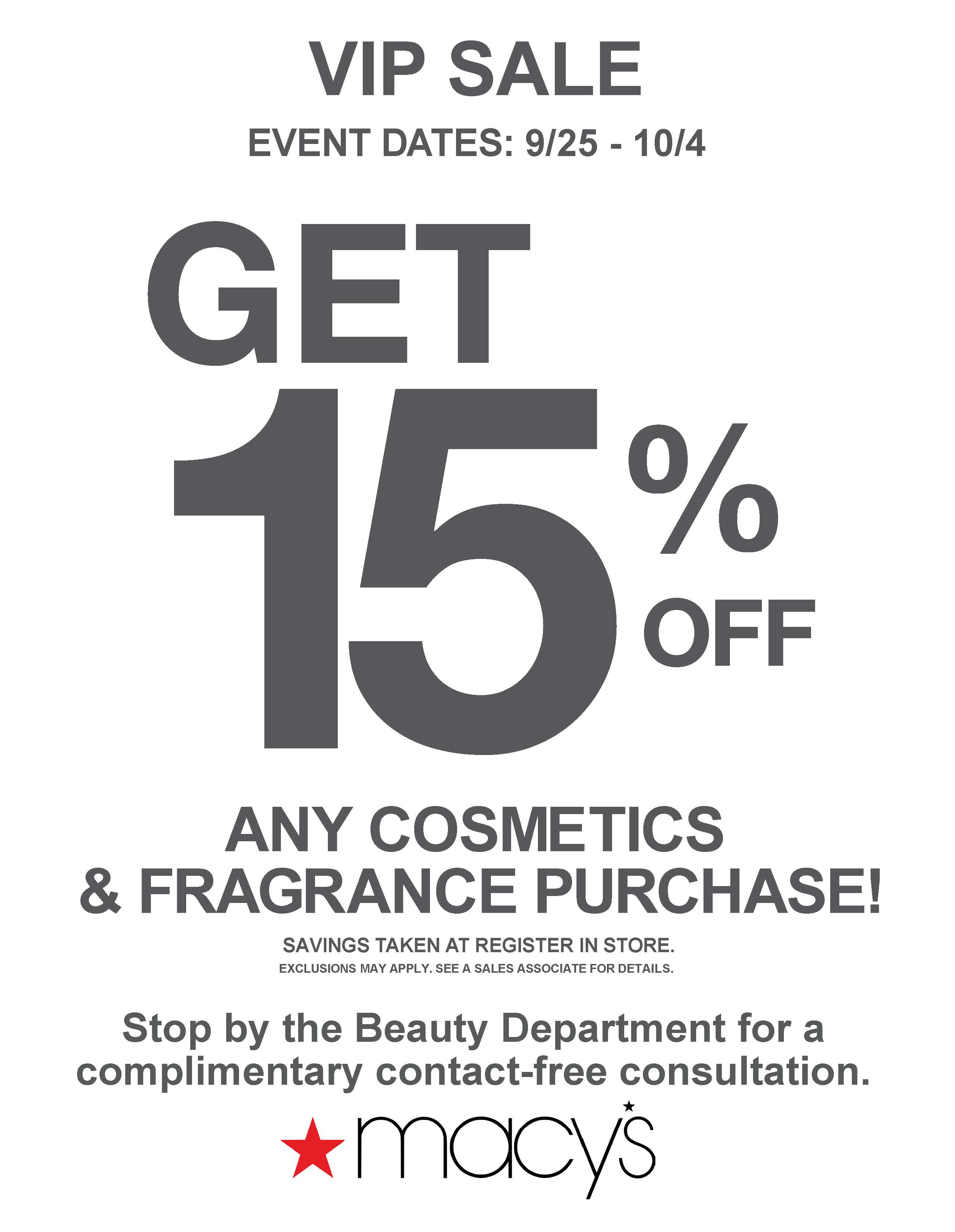 Cosmetics & Fragrance Sale at Macy's!