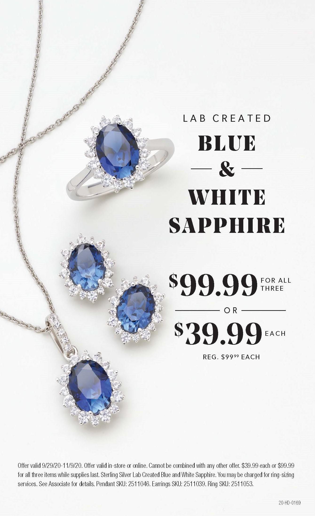 Lab Created Blue & White Sapphire