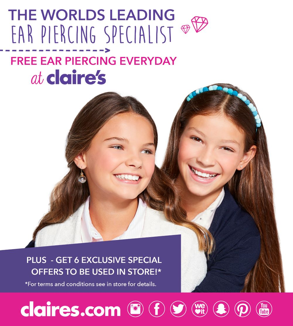 Free ear piercing EVERDAY at Claire's