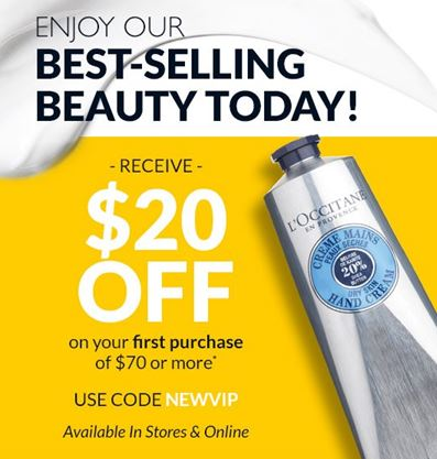 $20 off on your first purchase of $70 or more!