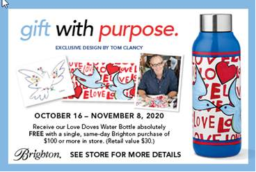 Free Love Doves Water Bottle w/purchase. See Details. from Brighton Collectibles