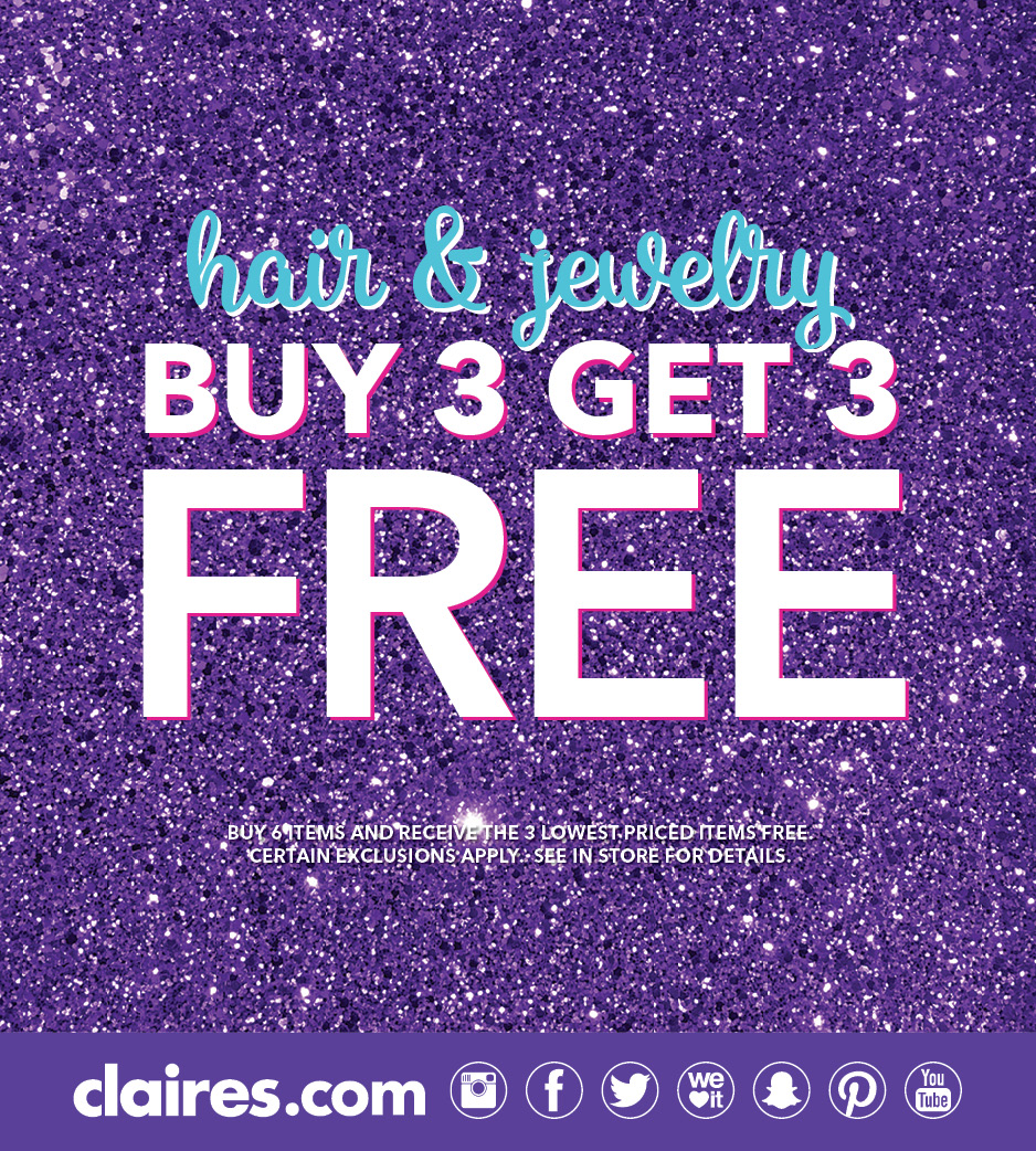 Buy 3 Get 3 Free from Claire's