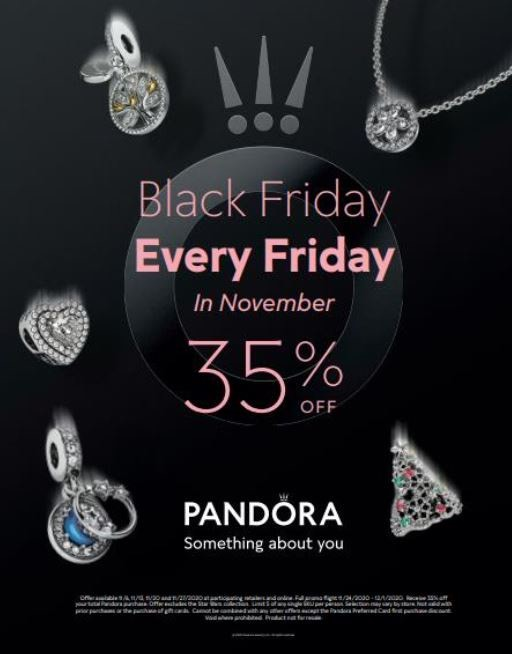 Pandora Black Friday Every Friday in November from PANDORA Holiday Gift Bar