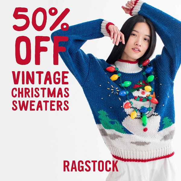 50% Off Vintage Christmas Sweaters from Ragstock