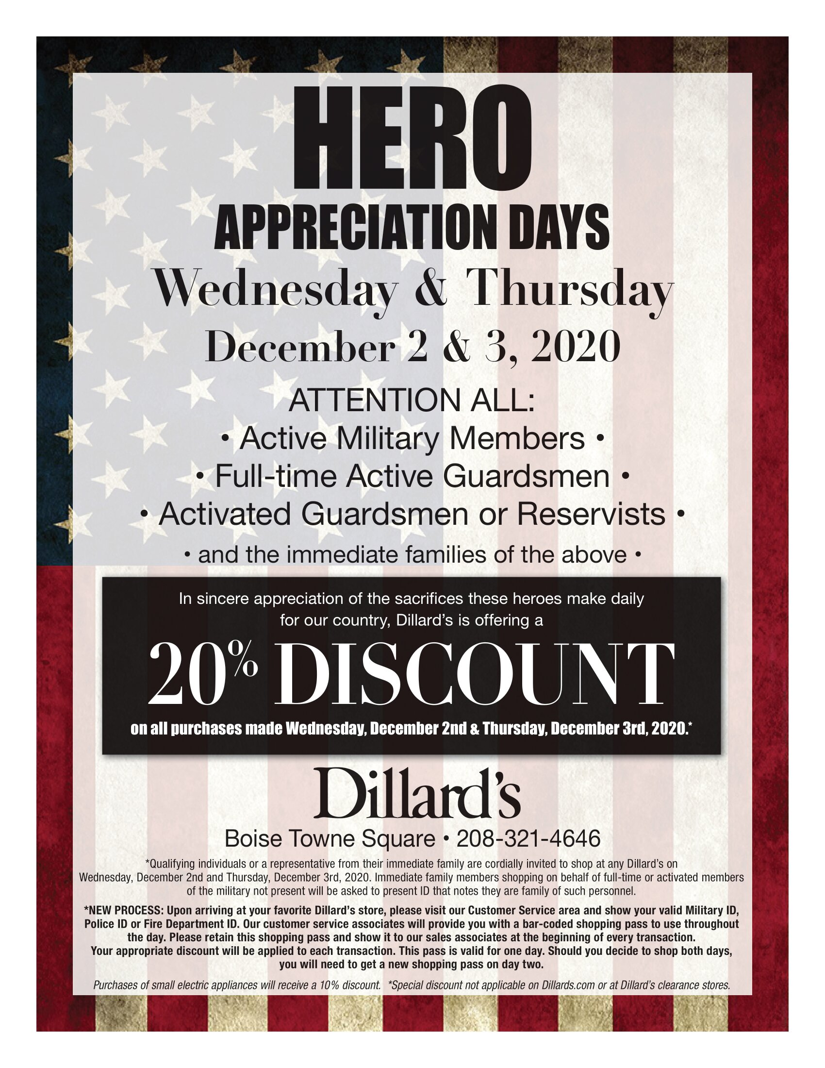 "20% Discount for ""Hero's Appreciation Day"" at Dillard's!"