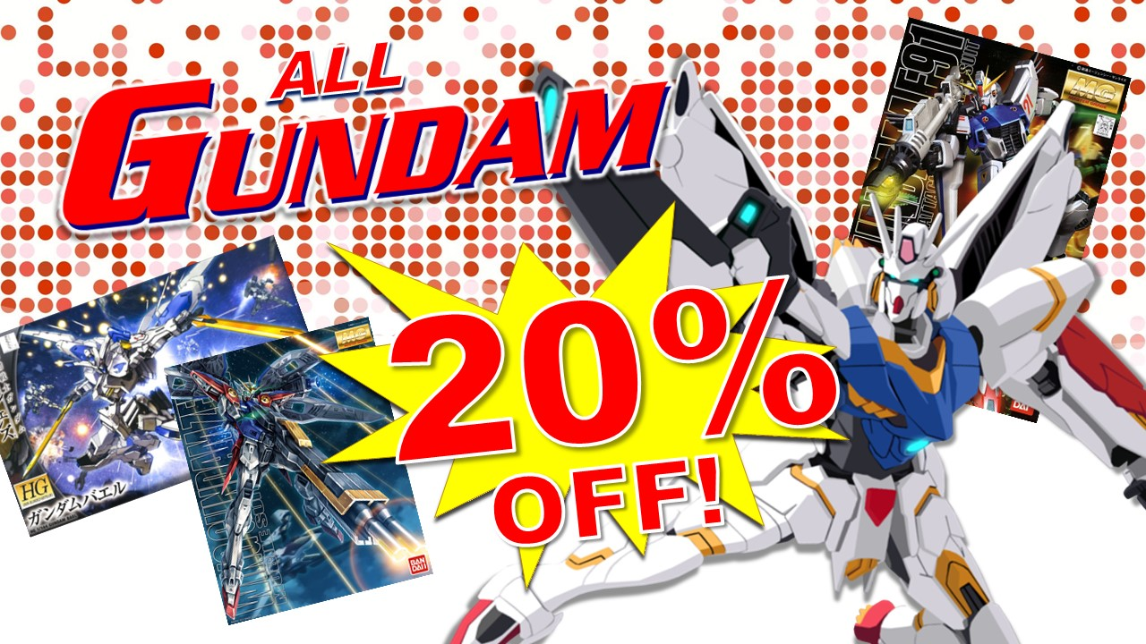 All Gundam 20% off! from Optimus Toys