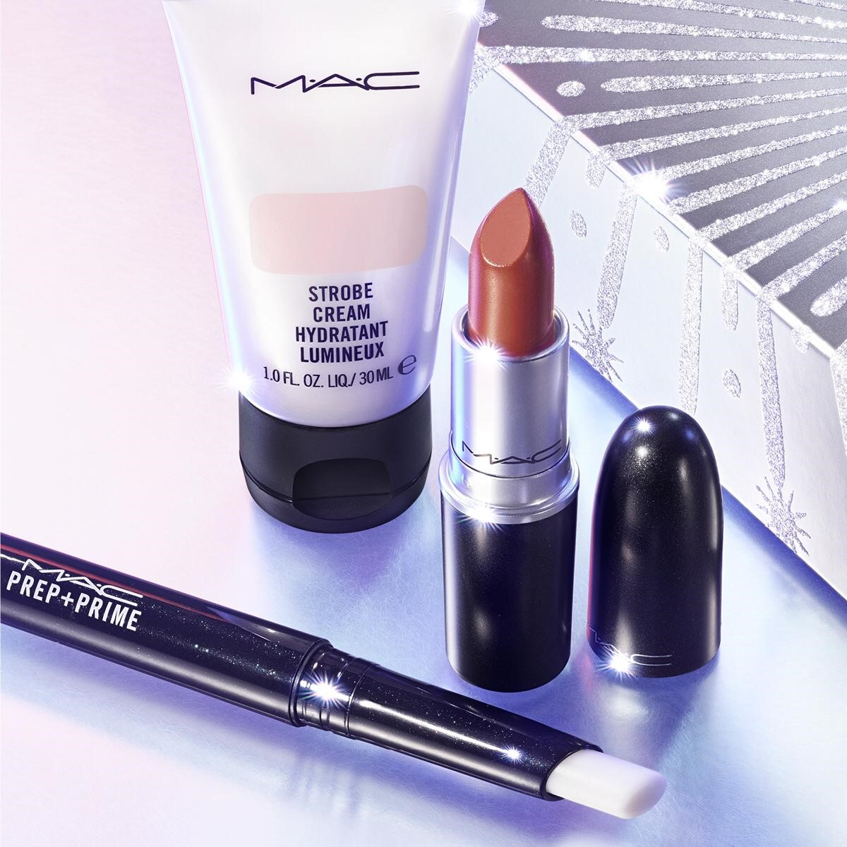 RUN THE SHOW KIT – MOCHA: P+ P LIP, LIPSTICK, MINI STROBE CREAM