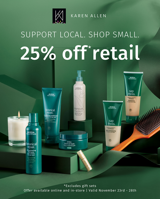 Karen Allen Shop Local Sale from Karen Allen Aveda Salon