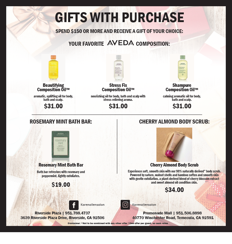 Gift with Purchase from Karen Allen Aveda Salon