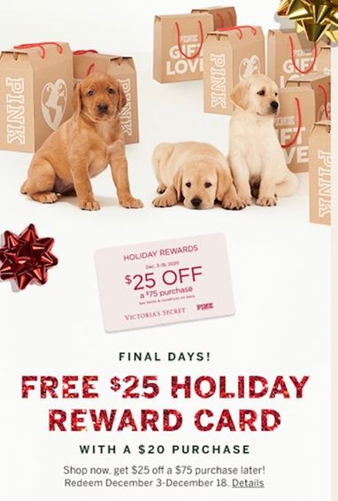 Free Holiday Reward Card from Victoria's Secret