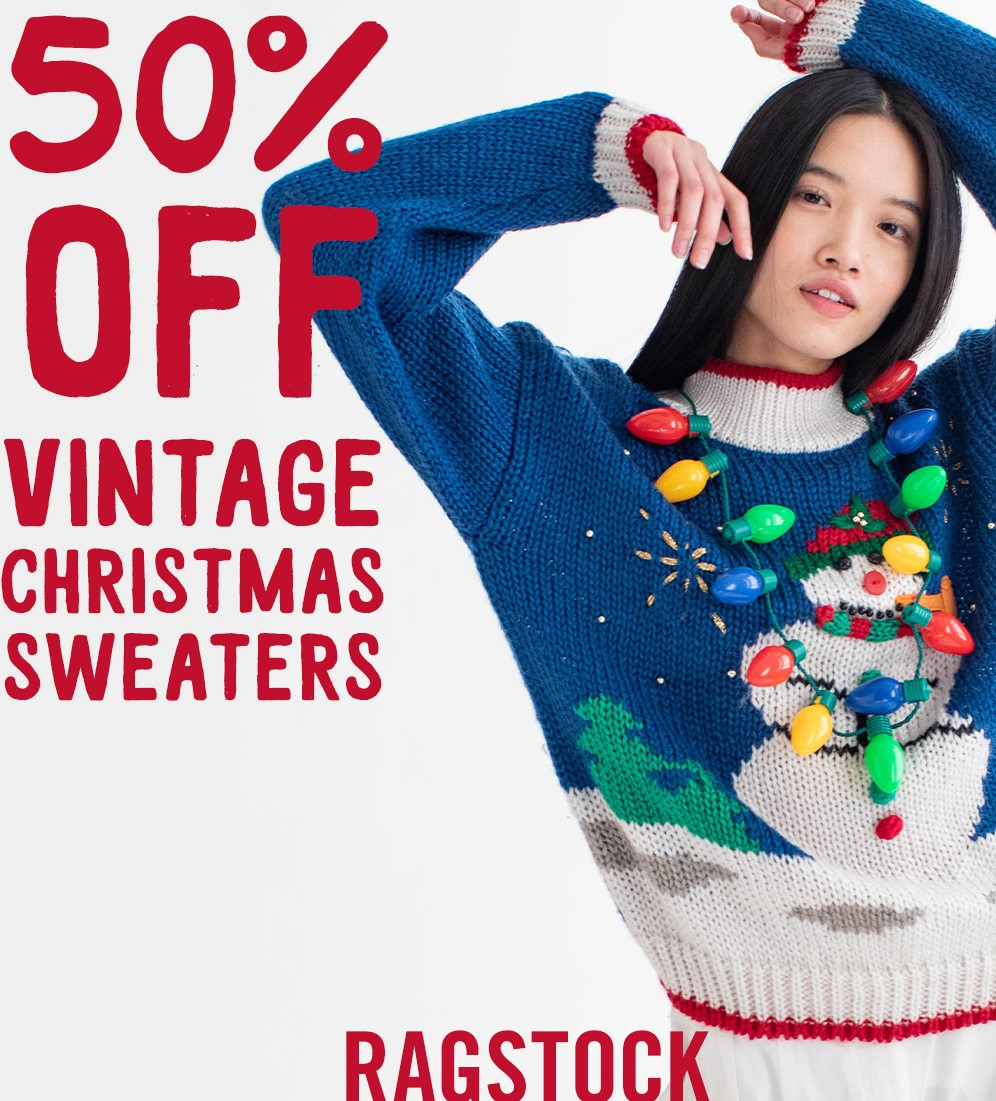 50% Off All Vintage Christmas Sweaters from Ragstock