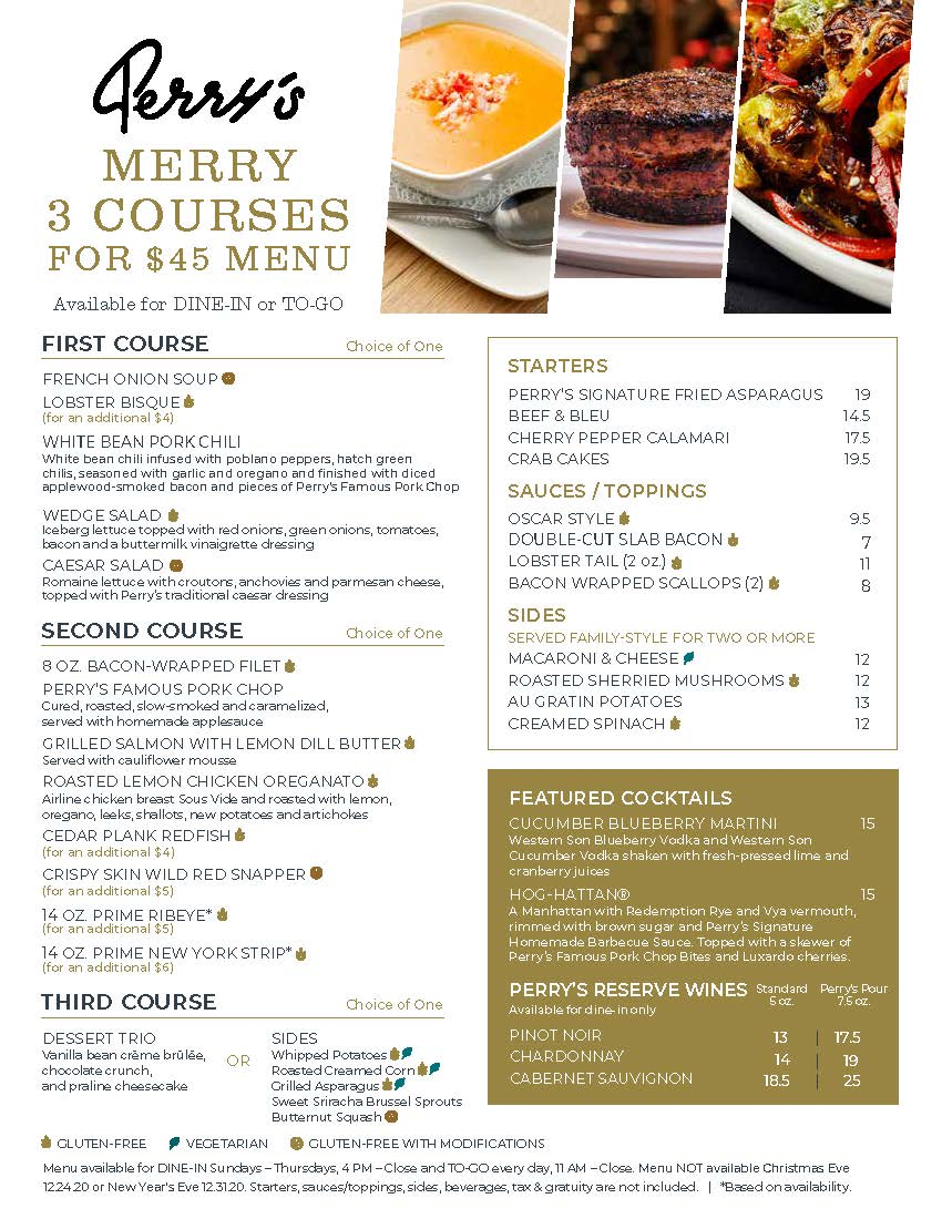Perry's: Merry 3 Courses for $45 Menu