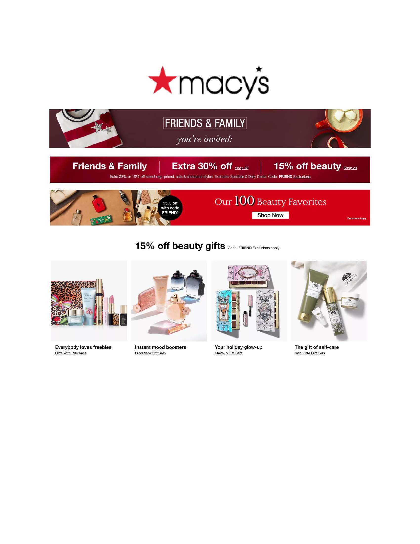 Friends and Family from macy's