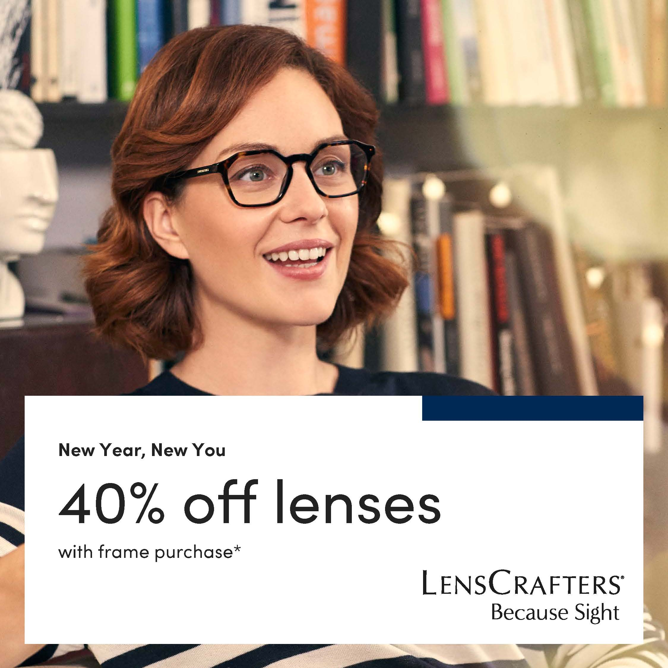 New Year, New You! 40% Off Lenses from LensCrafters