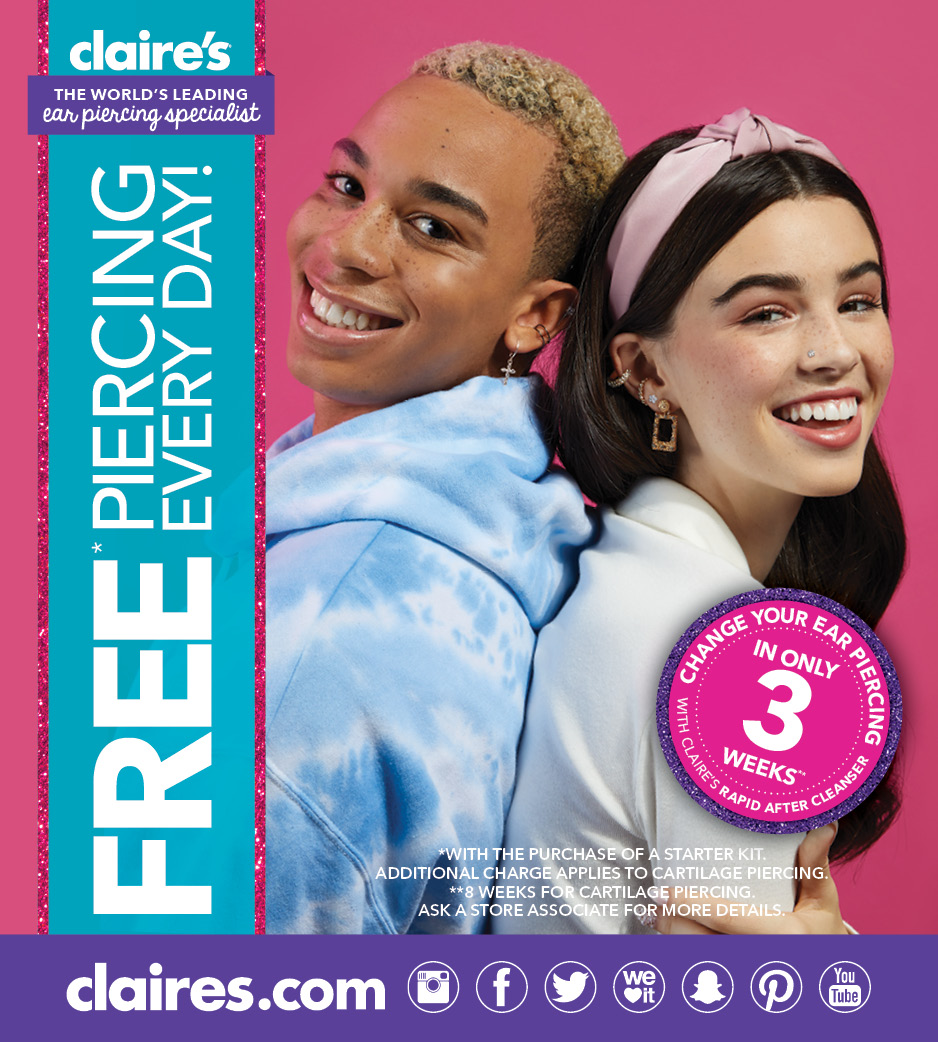 FREE Ear Piercing Every Day at Claire's! from Claire's