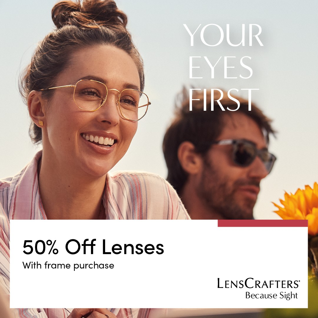 Lenscrafters 50% OFF Lenses with Frame Purchase from LensCrafters