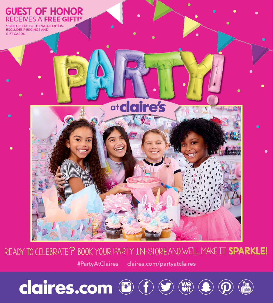 Book your party at Claire's from Claire's