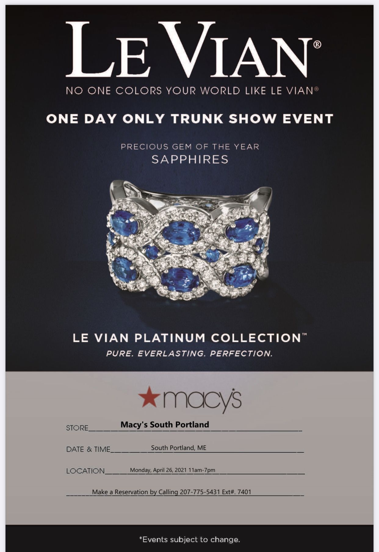 Macy's Le Vian One Day Only Trunk Show from macy's