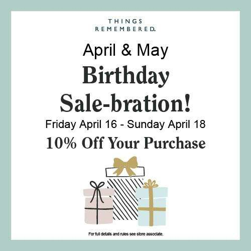 April & May Birthday Sale-bration from Things Remembered