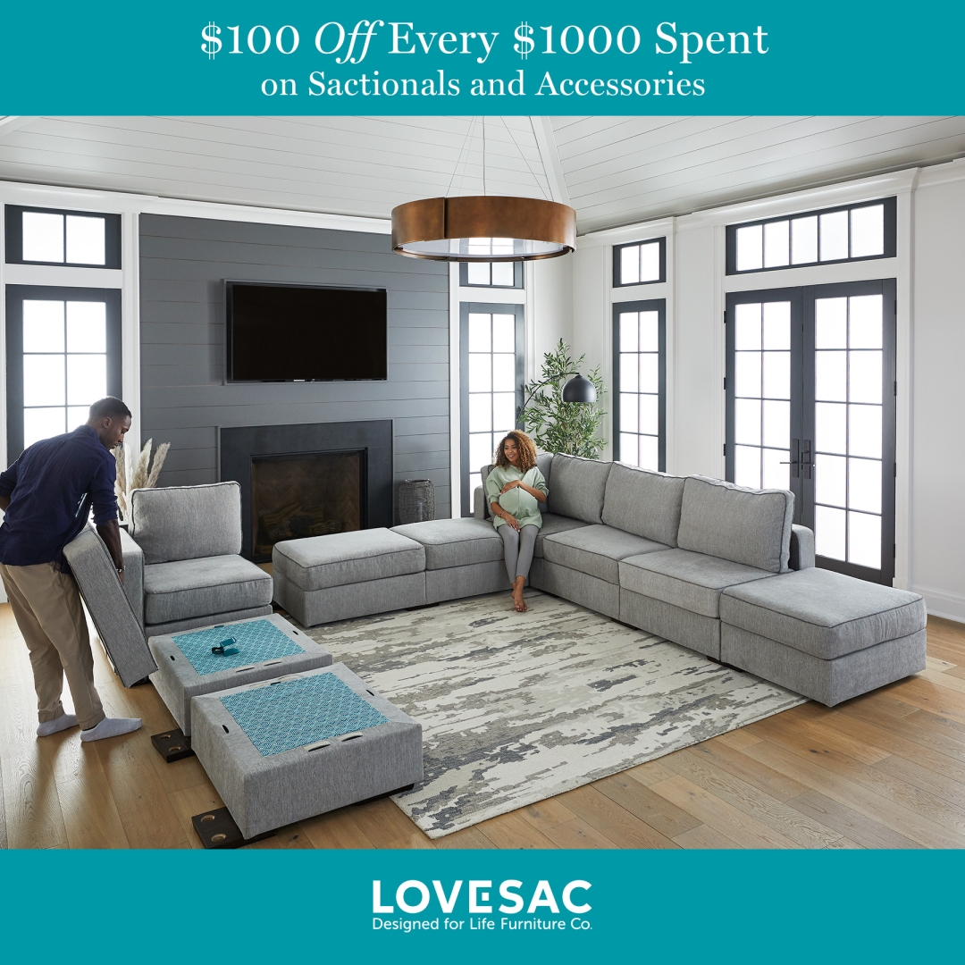 $100 Off Every $1000 from Lovesac Designed For Life Furniture Co