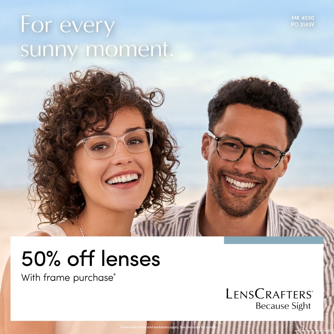 For every sunny moment. 50% off lenses with frame purchase. from LensCrafters