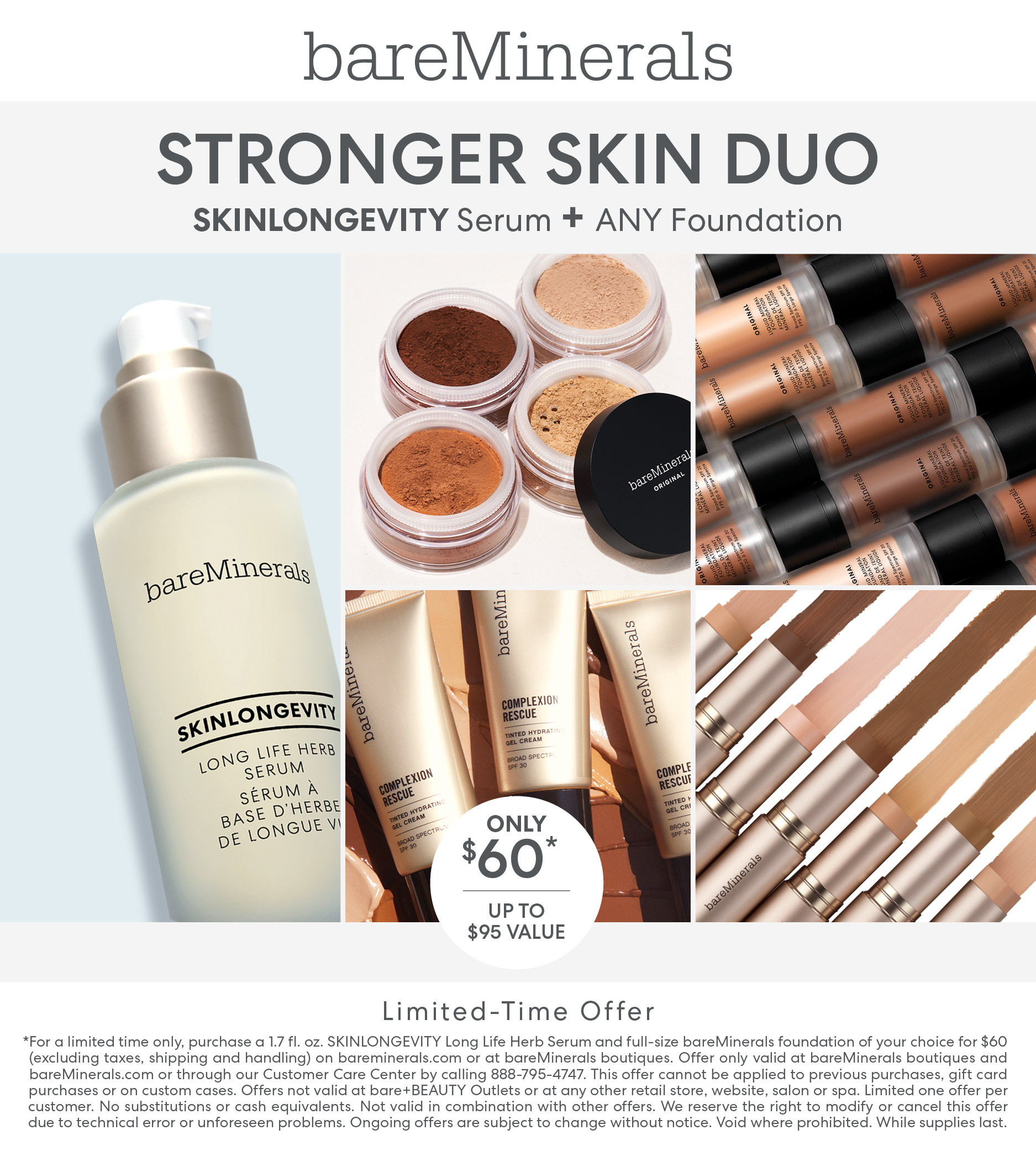 Skinlongevity Plus Choice of Foundation for $60 from bareMinerals