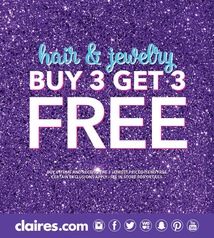 Hair & Jewelry Buy 3 Get 3 Free from Claire's