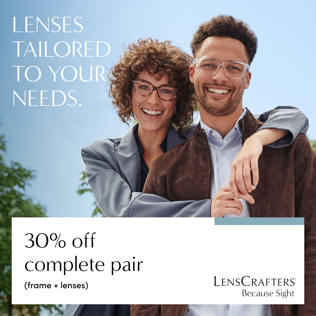 30% off complete pair! from LensCrafters