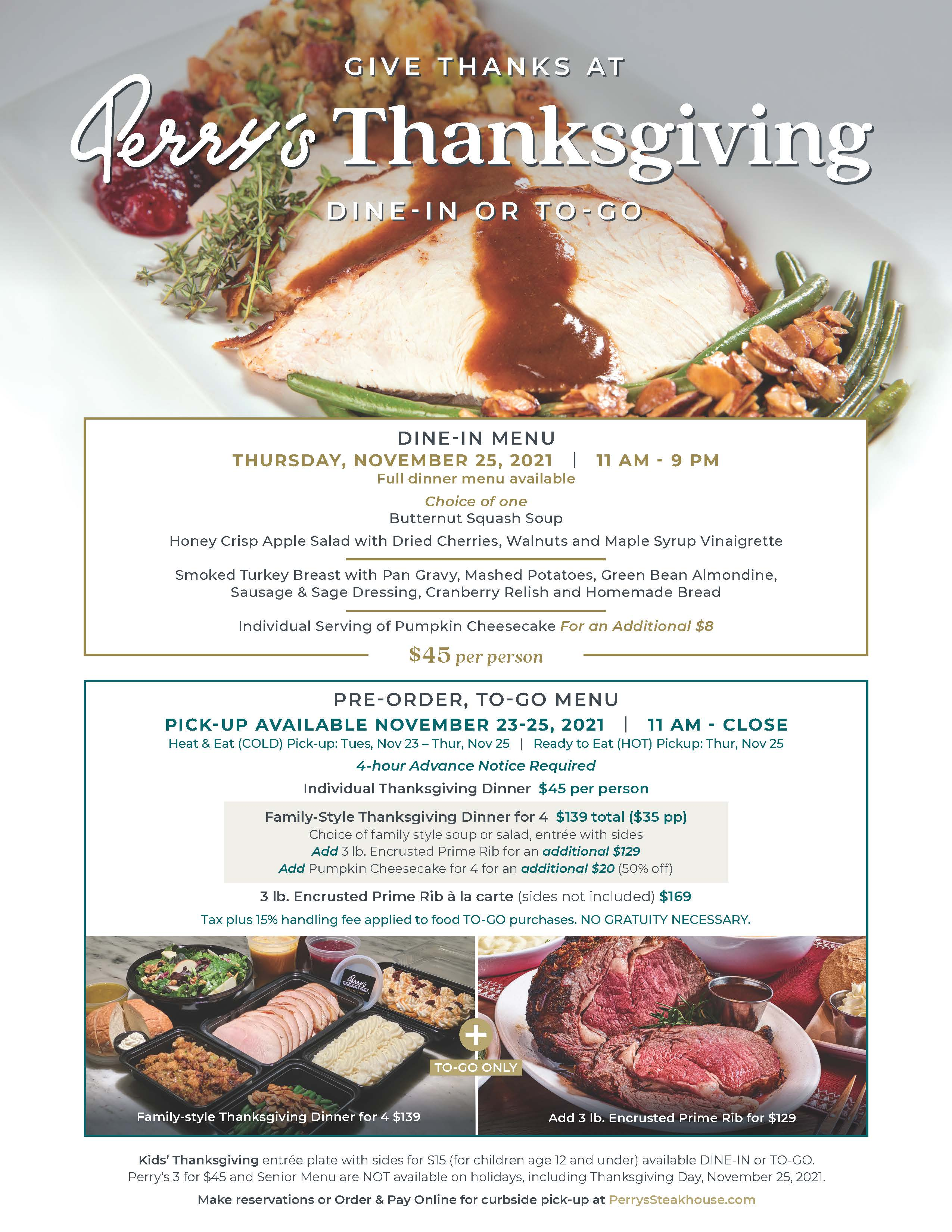Thanksgiving Dine in or To Go from Perry's Steakhouse & Grille
