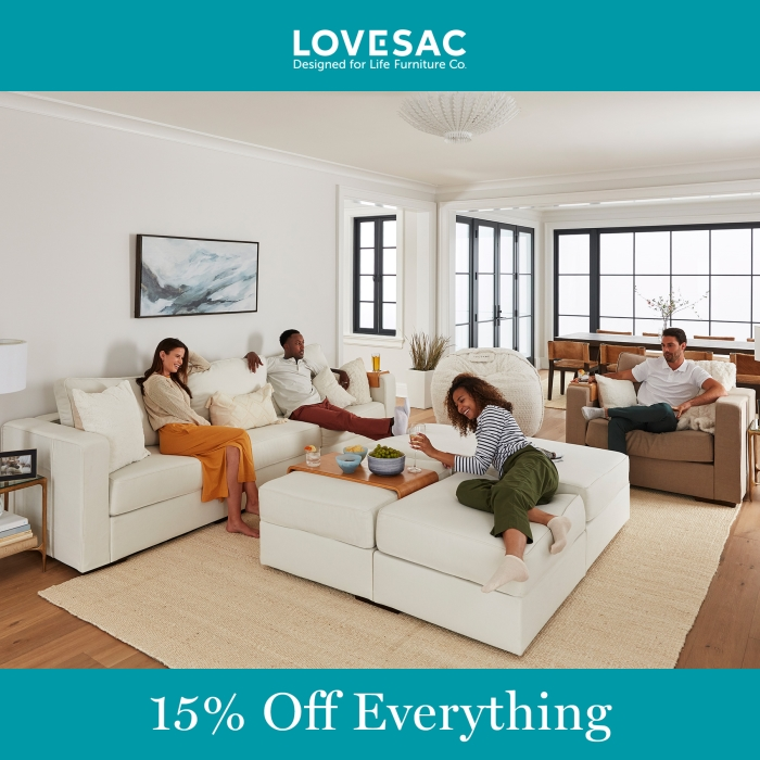 Friends & Family Event 15% Off Everything from Lovesac Designed For Life Furniture Co